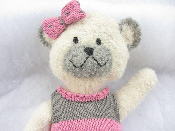 Hand knit alpaca boucle teddy bear with cotton dress.