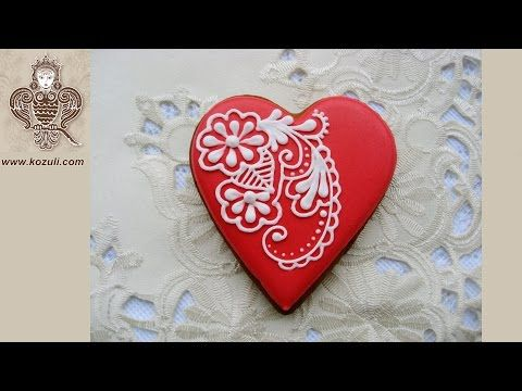@kozuli_com VIDEO TUTORIAL Piping Lace Cookies.  Mehndy design cookie. Cookie decorating  with royal icing. Royal icing cookies. Decorated cookies. More cookie decorating ideas and video tutorials at www.kozuli.com / Видео мастер-классы по росписи пряников на www.kozuli.com