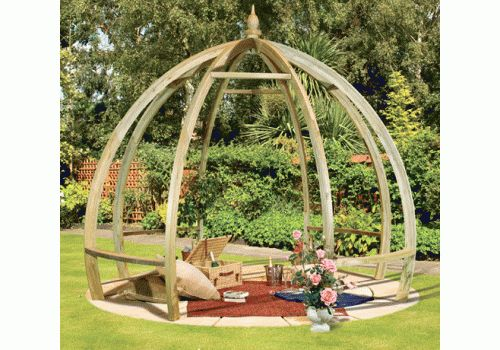Apollo Pergola -Free delivery across mainland England This garden pergola is a contemporary design which has been created with curved beams and rafters.    Planed Timber   Pressure Treated Pale Green Timber   Curved Beams and Rafters   2.85m (h) x 3.45m dia   Self assembly