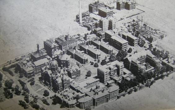 Johns Hopkins Hospital Aerial Old View Baltimore