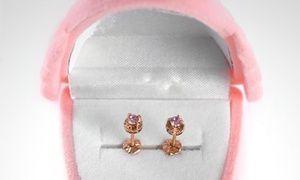 Groupon - Aros abridores para bebé en oro de 18K, modelo chaton español rosa de Francia o circón suizo. Precio Groupon: $44.990