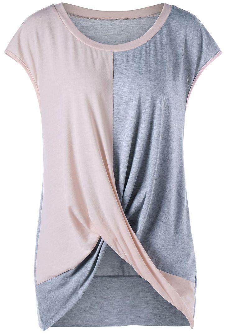 Plus Size Color Block Twist T-Shirt