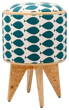 Fish Turquoise Stool Ottoman eclectic ottomans and cubes