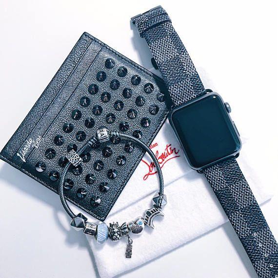 Correa de reloj negra de LV Apple Watch Band