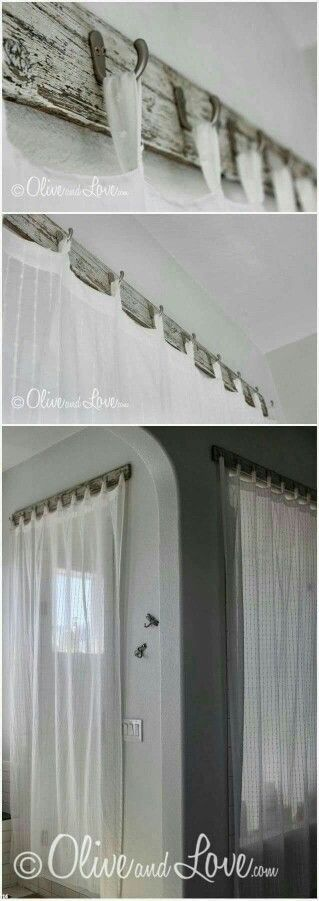 Reclaimed wood curtain hooks... I love the way this looks! From OliveAndLove.com