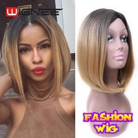 12 Inch U Part Skin Top Synthetic Hair Wig Ombre Blonde Color Bob Cut  Wigs For Women Glueless Non Lace Wig Sexy Bobo Hairstyle