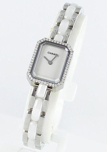 シャネルJ12プルミエール セラミック ダイヤベゼル ホワイト レディース H2132 -シャネルJ12時計コピー