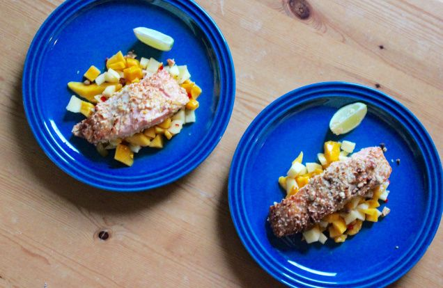 nut and panko fried salmon with mango and apple salsa