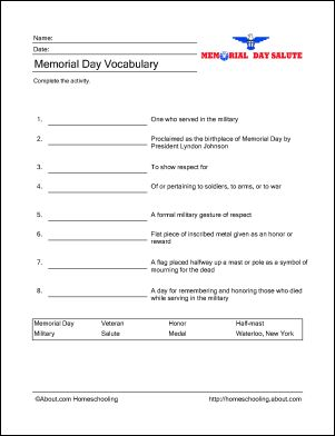 Memorial Day Wordsearch, Crossword Puzzle, and More: Memorial Day Vocabulary