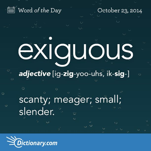exiguous    \ ig-ZIG-yoo-uhs, ik-SIG- \  , adjective;     1. scanty; meager; small; slender: exiguous income .