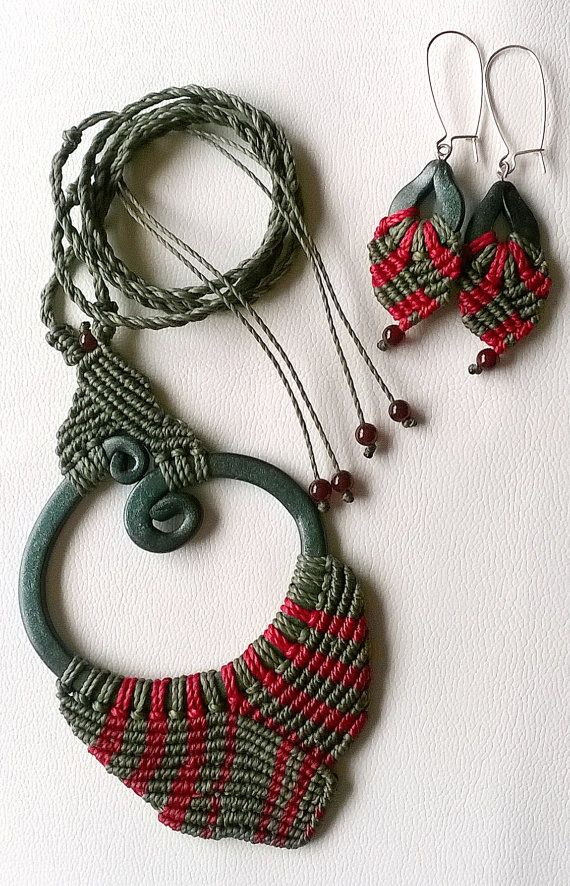 Macrame necklace and earring set with polymer clay charm.