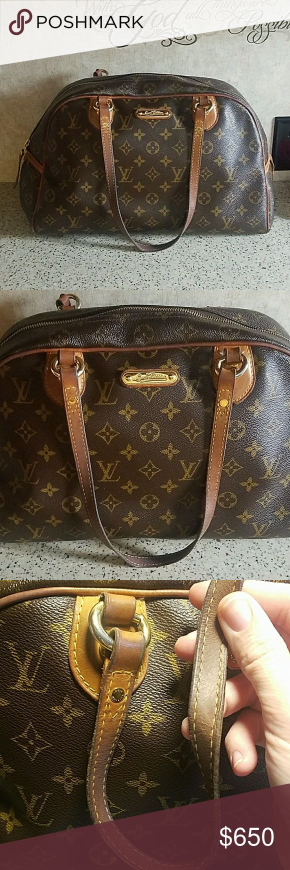 Authentic Louis Vuitton Montorgueil GM Authenticated using ProAuthenticators authentication service on Facebook.  This bag does show some wear as shown in the photos.  Please review photos carefully as they are a big part of the description.  Darkening of the vachetta on the handles,  some hardware tarnish,  some loose threading (as shown),  exposed piping on 3 corners,  darkening of vachetta where piping is, some staining inside and some wear inside close to where the zipper is located…