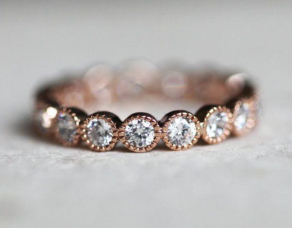 Blasen-Diamond-Band Runde Diamanten voll Eternity von capucinne
