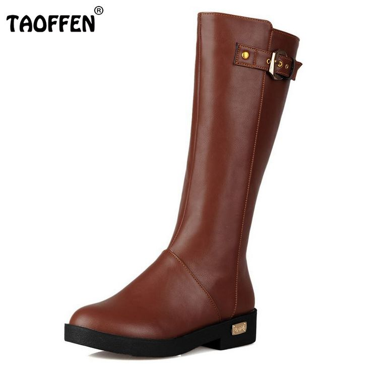 Women Flat Knee Boot Winter Snow Warm Long Boots Ladies Botas Knight Buckle Fashion Quality Footwear Shoes Size 34-39  #Affiliate