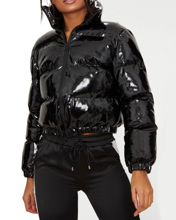 buy popular 130a4 e2699 Shiny PVC/Vinyl Down Jacket Short Puffer Bomber Black | Etsy ...