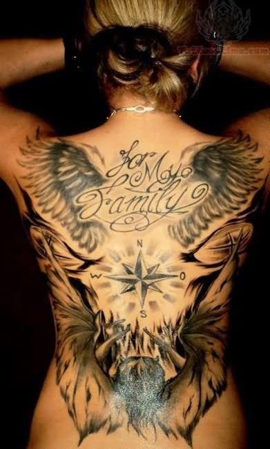 Winged for my family tattoo on back tatoo ideas for My family tattoo