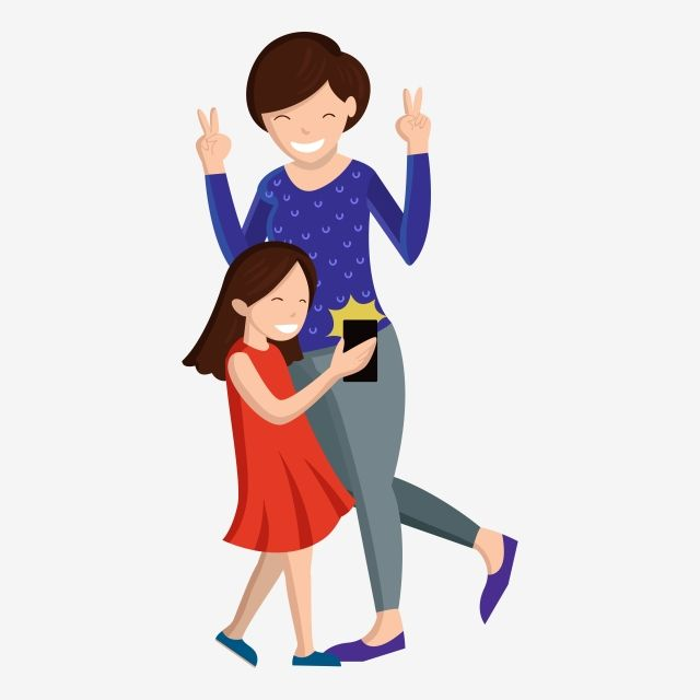 Happy Parenthood Mom And Daughter Playing With Selfie Handphone Happy Family Family Mom Kids Happy Png And Vector With Transparent Background For Free Downlo Mom Kid Happy Mom Baby Cartoon