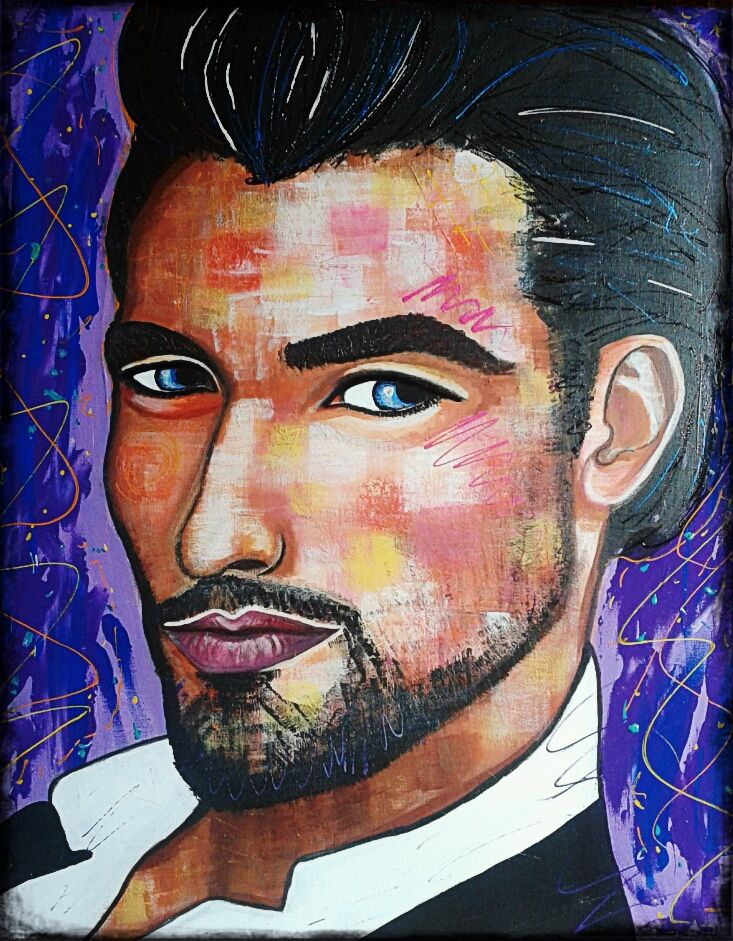my Gandy by STEFANO acrylic on canvas(50x60cm) 2015 model:David Gandy acrylic,painting,portrait,supermodel,david gandy,painter,fashion,fasion art,fineart,art,faces,modernpainting