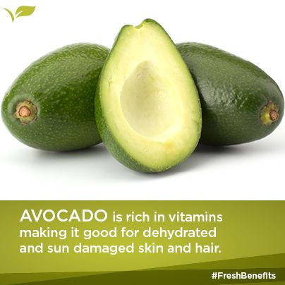 Avocado is rich in vitamins making it good for dehydrated and sun damaged skin and hair.