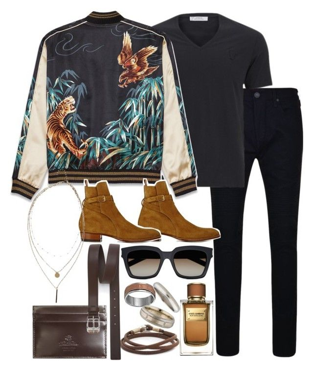 """Inspired by Harry Styles."" by nikka-phillips ❤ liked on Polyvore featuring True Religion, Versace, Yves Saint Laurent, Dolce&Gabbana, Caputo & Co., Brooks Brothers, Cartier, Paul Smith, men's fashion and menswear"