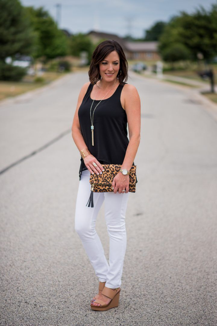 a47033ce279d how to style a layered tank for a classic black-and-white summer outfit for  women over 40