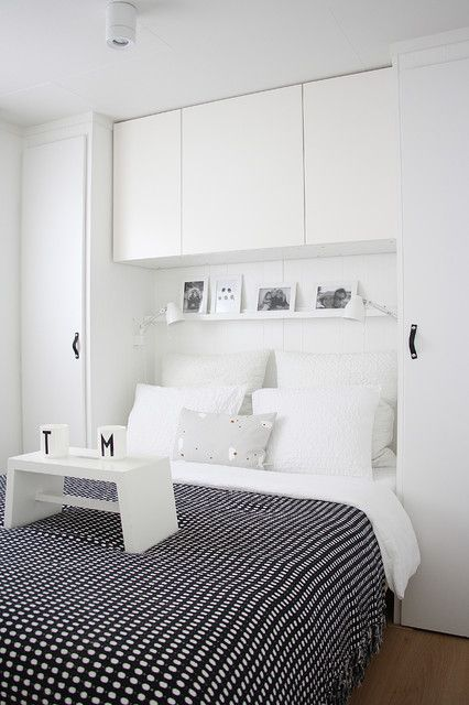 Awesome Grey Quilt On White Bed Inside Small Bedroom With White Small Bedroom Storage Ideas And Wooden Floor: Appealing Small Bedroom Storage Decorating Ideas Made By DIY Project For Interior