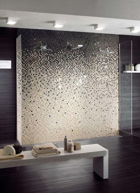 Feinsteinzeug mosaikfliesen f r wandgestaltung im for Tapeten badezimmer beispiele