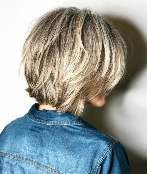 Brown+Choppy+Bob+With+Blonde+Balayage