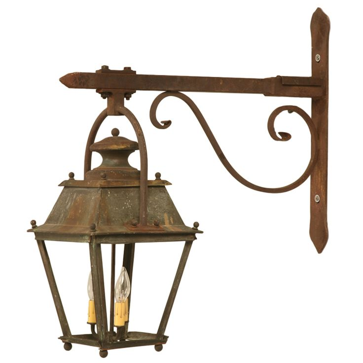 Original Antique French Copper Lantern On Hand Wrought Iron Bracket Just Rewired Copper Lanterndining Lightinggarden