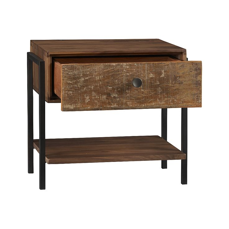 Shop Atwood Reclaimed Wood Nightstand.   The  nightstand's drawer and bottom shelf offer generous storage, supported by a walnut frame with dovetail joinery and steel sled legs.  The Atwood Nightstand is a Crate and Barrel exclusive.