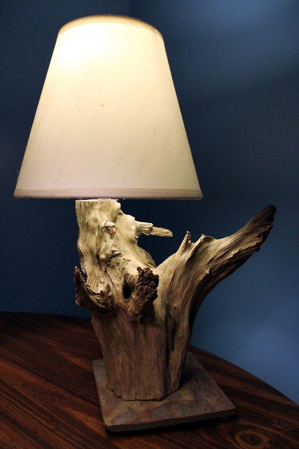 unique natural driftwood lamp with natural sale base. Black Bedroom Furniture Sets. Home Design Ideas