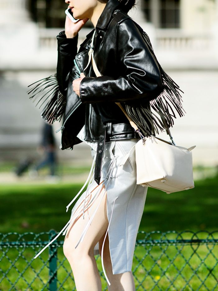 High slit pencil skirt + leather jacket with fringe