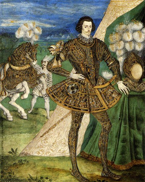 Robert Devereux, 2nd Earl of Essex, attributed to Nicholas Hilliard, c.1587. (The eldest surviving son of Lettice Knollys and stepson to Robert Dudley, Earl of Leicester & Elizabeth I favorite) in tilting armour. He wears a lady's glove as a favor on his right arm; this miniature may commemorate his appearance at a tournament in 1595 when Elizabeth I of England gave him her glove.