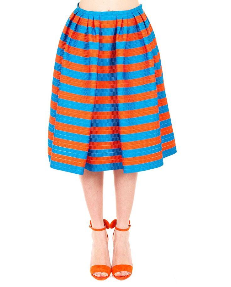 Jacquard pattern skirt high waist gathered waist orange and light blue variant side closure with zipper and hook 77% PL 18% SE 5% PA