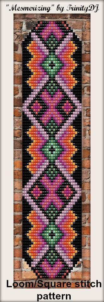 "New Loom/Square stitch bracelet pattern - ""Mesmerizing""."