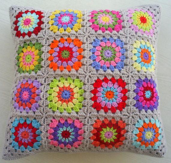 a hippie happy crochet granny square cushion por handmadebyria, $40.00