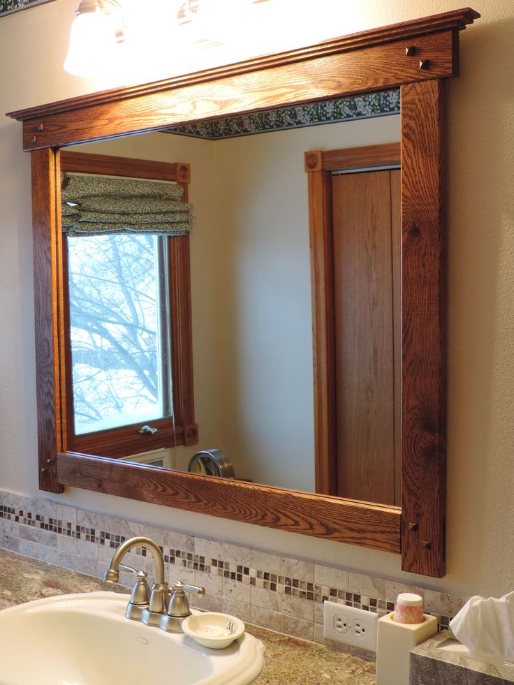 Mission Style Bathroom Mirror I Custom Made From Salvaged Flooring To Finish The Remodel