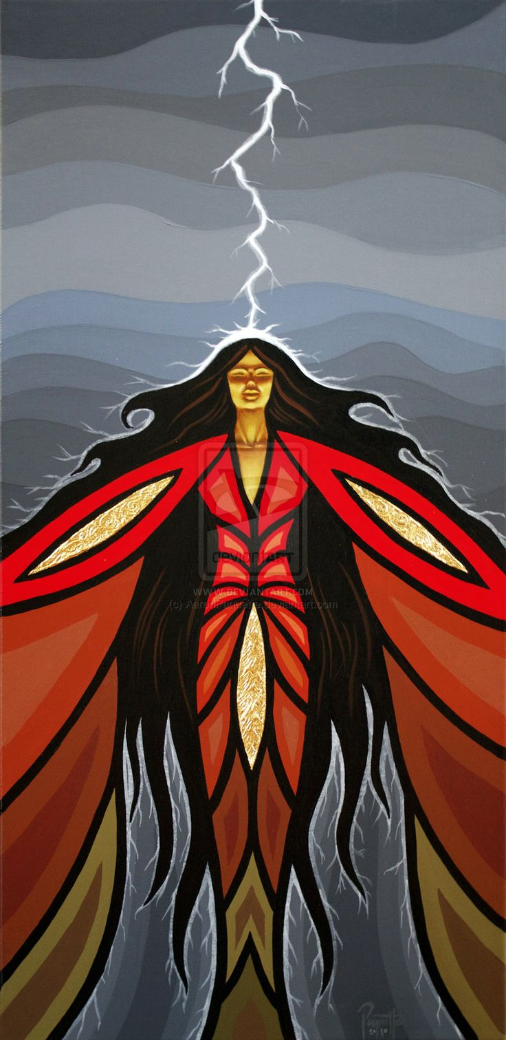 """By Fire and Storm Transformed by AaronPaquette.deviantart.com on @deviantART - Art by Métis (First Nations) artist Aaron Paquette: """"his piece is a commission for the Eagle Feather Gallery in Victoria, BC. It's from a personal story of someone who was touched by lightning. I thought about this painting for a very long time, hoping to find the right balance between the drama such an event would hold with the aftereffect it would have on someone's life."""""""