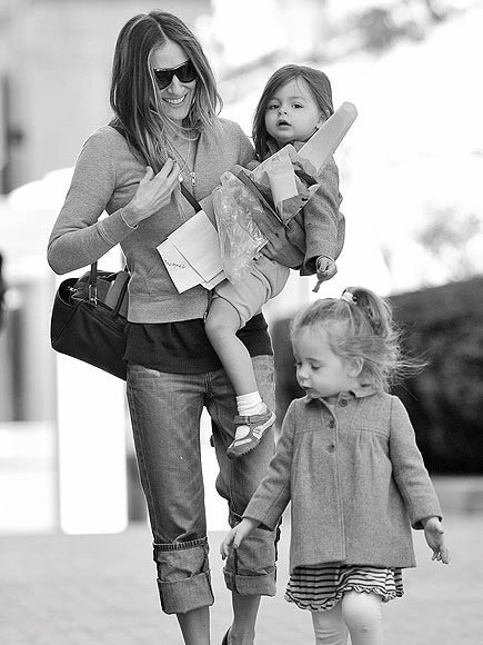 Sarah Jessica Parker and Her Twin Daughters....Carried By A Surrogate Mom Due To Repeated Miscarriages, These Twin Daughters Are the Younger Pride of Parker & Husband, Matthew Broderick's Marriage...Sarah Jessica Seems to Have No Problem Switching From Designer Style Nights Out to a Mom In Rolled Up Jeans...Good For The Brodericks!!  A Happy Family...Now Complete!!