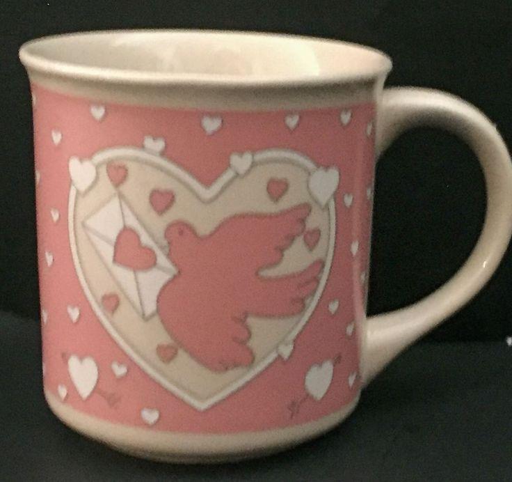 Vtg Lovebird Coffee Mug Cup Lillian Vernon Alan Wood Pink Bird Hearts Romance    eBay