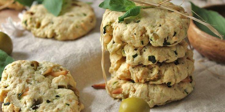 Cookies salés, olive et basilic