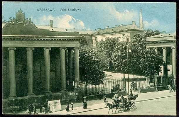 Izba Skarbowa na Placu Bankowym, stara pocztówka Warszawa