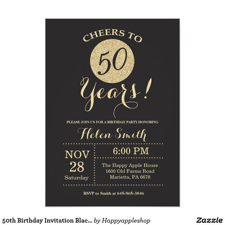 sapphire wedding anniversary invitations%0A   th Birthday Invitation Black and Gold Glitter