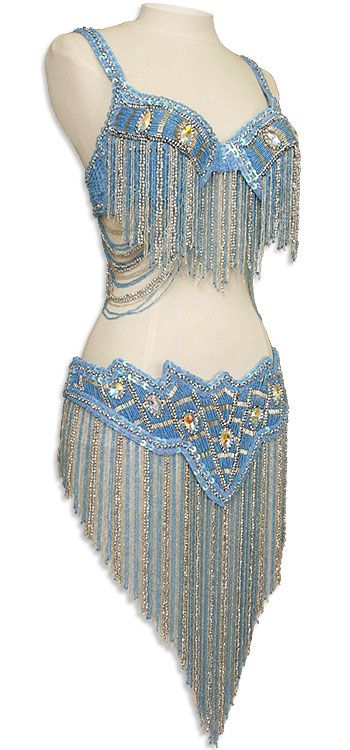 Light Blue Irridescent Sequin Fringe Turkish Bra & Belt Belly Dance Costume - At DancingRahana.com