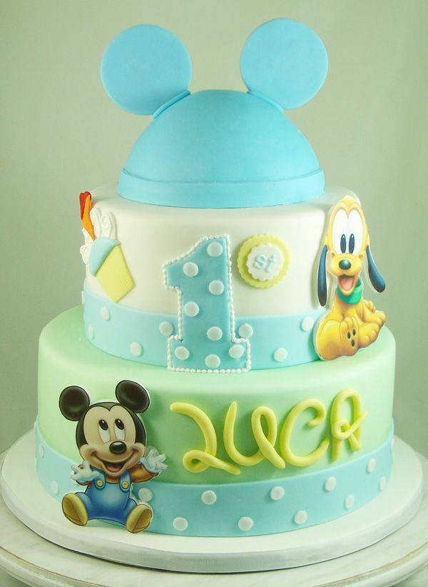 Mickey Mouse and Pluto First Birthday Cake. #MickeyMouseCake