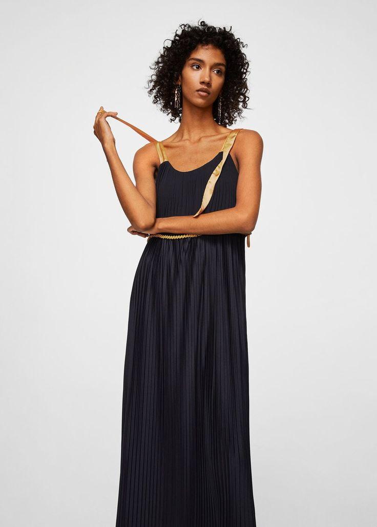 Robe plissée contrastante -  Femme | MANGO France