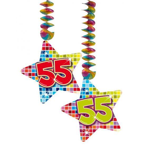 Hangdecoratie sterren 55 jaar. Hangdecoratie in de vorm van sterretjes met het getal 55. De decoratie is verpakt per 2 stuks en is ongeveer 13,3 x 16,5 cm groot.