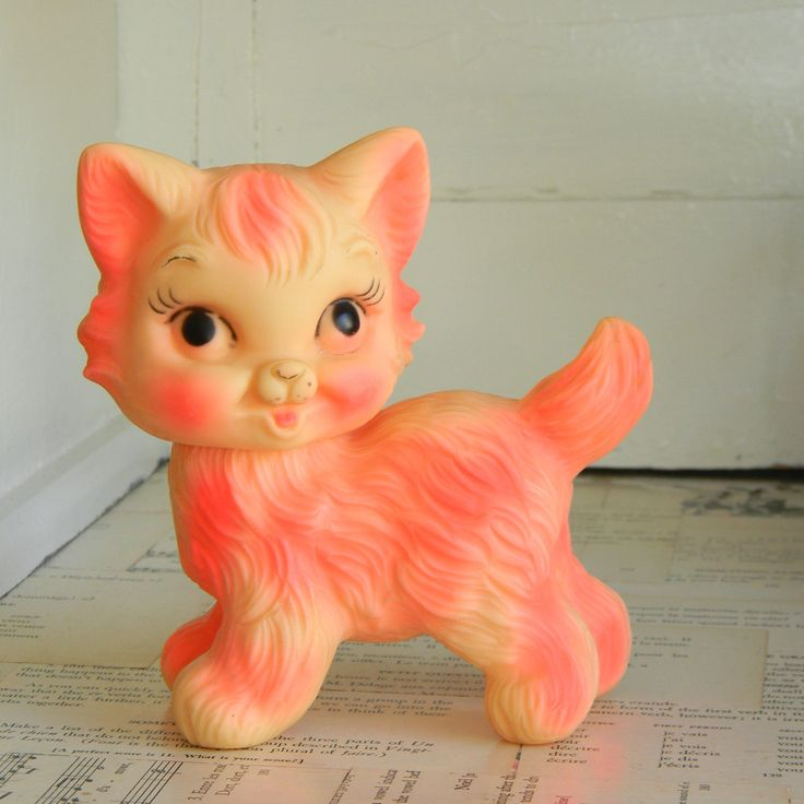 vintage PINK rubber squeak toy kitty cat