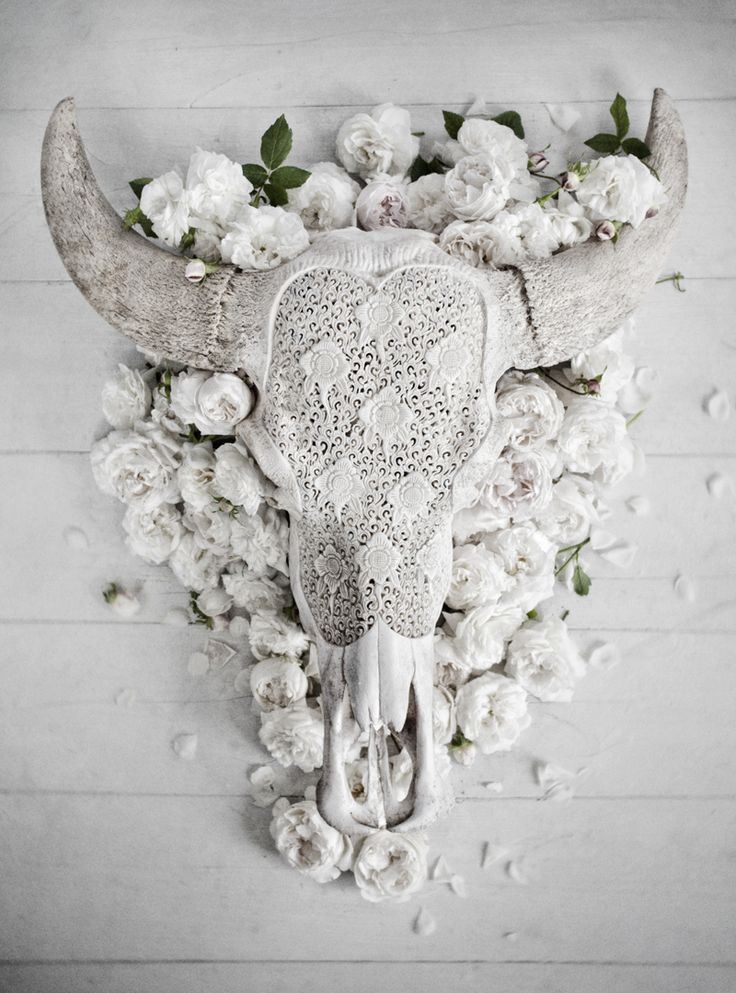 Cow skull bohemian home white on white lace crochet boho for Lace home decor