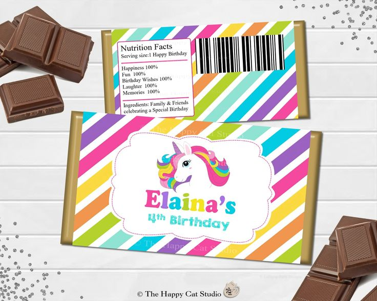 Printable Unicorn Chocolate Bar Wrappers, Birthday, Baby Shower, Christening, Baptism Personalized, Candy Bar Wrappers, Party Favor, Rainbow by TheHappyCatStudio on Etsy